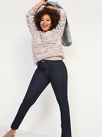 Mid-Rise Power Slim Straight Dark-Wash Jeans for Women