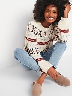 Cozy Fair Isle Blouson-Sleeve Sweater for Women