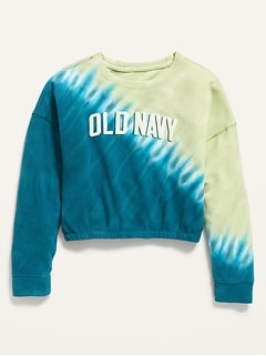 Logo-Graphic Cropped Tie-Dye Sweatshirt for Girls