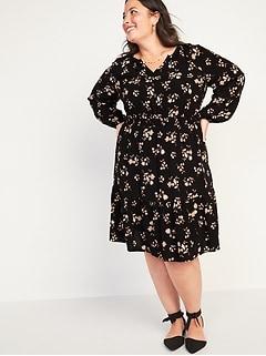 Waist-Defined Printed Split-Neck Tiered-Hem Plus-Sized Dress