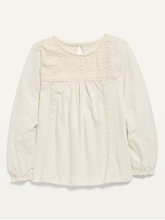 Lace-Trim Long-Sleeve Jersey Top for Girls