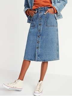 Mid-Rise Button-Front Midi Jean Skirt for Women