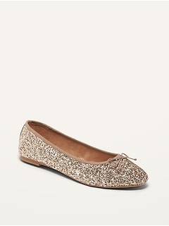 Glitter-Covered Almond Toe Ballet Flats for Women