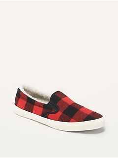 Textured Sherpa-Lined Slip-Ons for Women