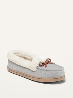 Soft-Brushed Faux-Fur Lined Moccasin Slippers for Women
