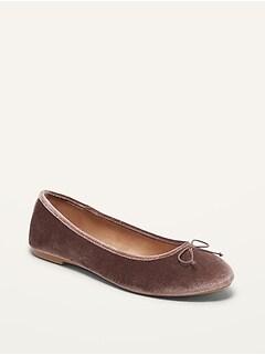 Velvet Almond-Toe Ballet Flats for Women