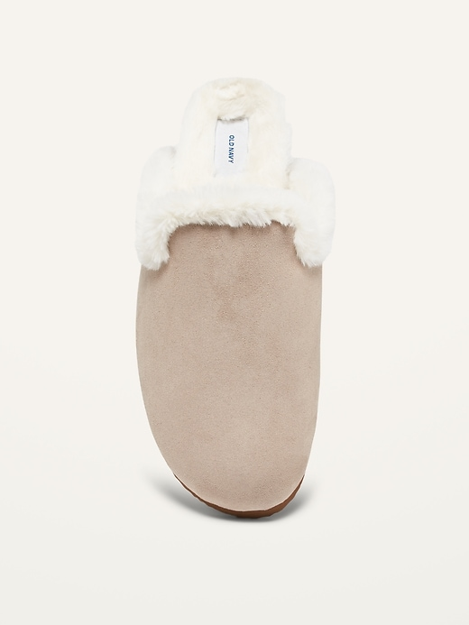 Faux-Fur Lined Slip-On Mule Slides for Women