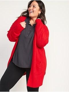 Cozy Open-Front Long-Line Plus-Size Sweater