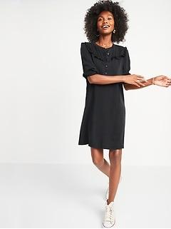 Black Chambray Ruffle-Yoke Popover Shirt Dress for Women