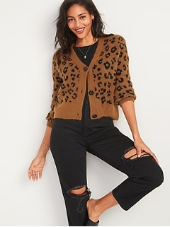 Cozy Leopard-Print V-Neck Cardigan Sweater for Women