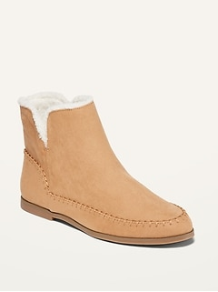 Water-Repellent Faux-Suede Ankle Boots for Women