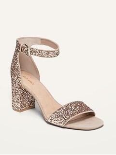 Glitter Block-Heel Sandals for Women