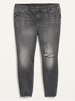 High-Waisted Secret-Slim Pockets Rockstar Super Skinny Plus-Size Ripped Ankle Jeans