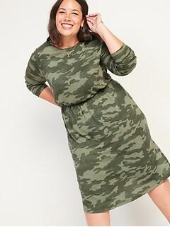 Cozy Plush-Knit Waist-Defined Plus-Size Midi Dress