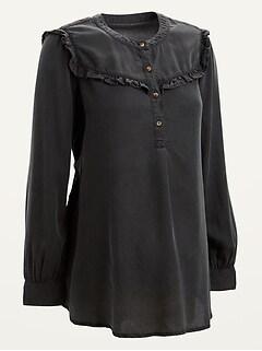 Maternity Ruffle-Yoke Black Chambray Popover Shirt