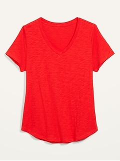 T-shirt Tout-aller en tricot grège à col enV pour femme