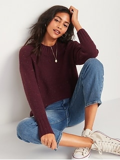 Oversized Cozy Textured Crew-Neck Sweater for Women