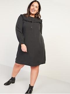 Black Chambray Ruffle-Yoke Plus-Size No-Peek Popover Shirt Dress