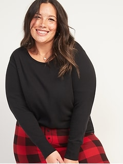 Thermal-Knit Plus-Size Long-Sleeve Tee