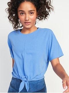 Haut UltraLite Performance en tricot côtelé à ourlet noué pour femme