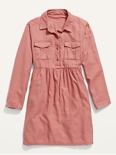Robe-chemisier style militaire en sergé de couleur vive pour fille
