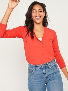 Luxe Rib-Knit V-Neck Long-Sleeve Henley Top for Women