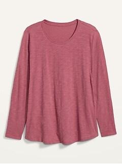 EveryWear Slub-Knit Plus-Size Long-Sleeve Tee