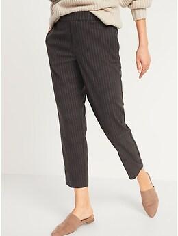 Pantalon droit à carreaux à taille moyenne à enfiler, longueur à la cheville