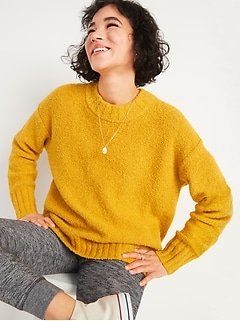 Cozy Oversized Bouclé Crew-Neck Sweater for Women