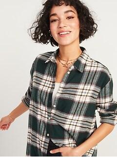 Chemise tunique à carreaux en flanelle coupe boyfriend pour femme