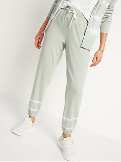 Tie-Dye Stripe Cinched-Hem Jogger Sweatpants for Women