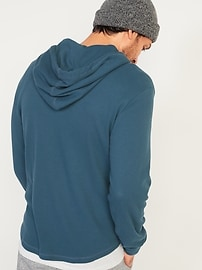 Thermal-Knit Pullover Henley Hoodie for Men
