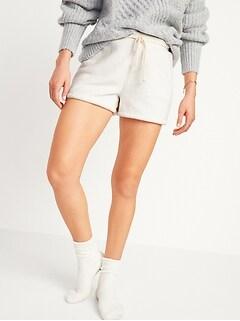 Cozy Faux-Fur Sherpa Lounge Shorts for Women -- 3-inch inseam