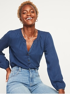 Chambray Split-Neck Popover Blouse for Women