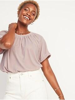 Shirred Velvet Short-Sleeve Top for Women