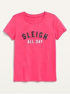 T-shirt de pyjama à imprimé à manches courtes pour fille