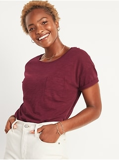 Loose Slub-Knit Easy Pocket Tee For Women