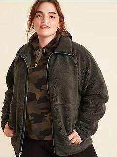 Veste à glissière en sherpa moelleux, taille forte