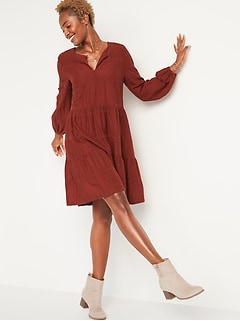 Embroidered Tiered-Hem Swing Dress for Women