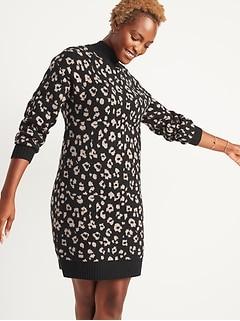 Leopard-Print Mock-Neck Sweater Shift Dress for Women