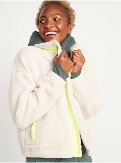 Cozy Sherpa Snap-Front Flurry Crop Jacket for Women