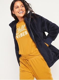 Cozy Teddy Sherpa Long Zip Jacket for Women
