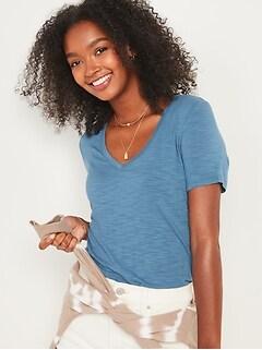 T-shirt luxueux en tricot grège à col enV pour femme
