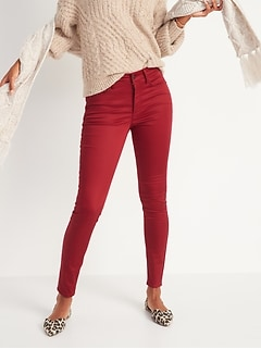 High-Waisted Rockstar Super Skinny Sateen Pop-Color Jeans for Women