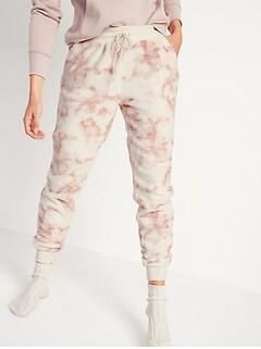 Mid-Rise Cozy Faux-Fur Jogger Sweatpants for Women