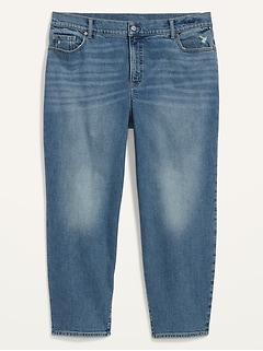 High-Waisted Secret-Slim Pockets O.G. Straight Plus-Size Ankle Jeans