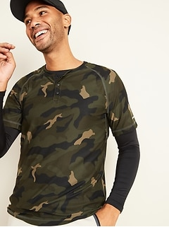 T-shirt henley à imprimé camouflage Breathe ON ultradoux pour homme