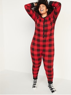 Patterned Waffle-Knit Plus-Size One-Piece Pajamas