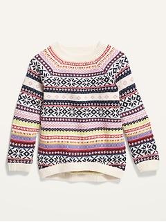 Fair Isle Raglan Pullover Sweater for Toddler Girls