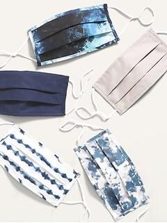 Paquet de 5 masques en tissu à plis à triple épaisseur pour adulte (ajustables aux oreilles)